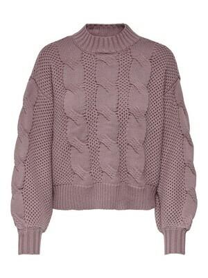 Knitwear - JULIA - grof gebreide kabeltrui - oud roze