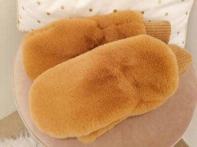 *Handschoenen - wanten met faux fur camel - ANNABELLE