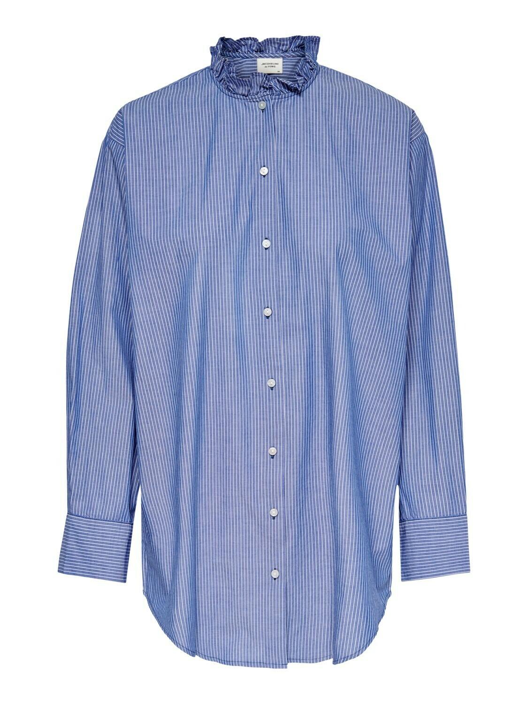 (*) Lang hemd - BUBBLE - blauw/wit gestreept
