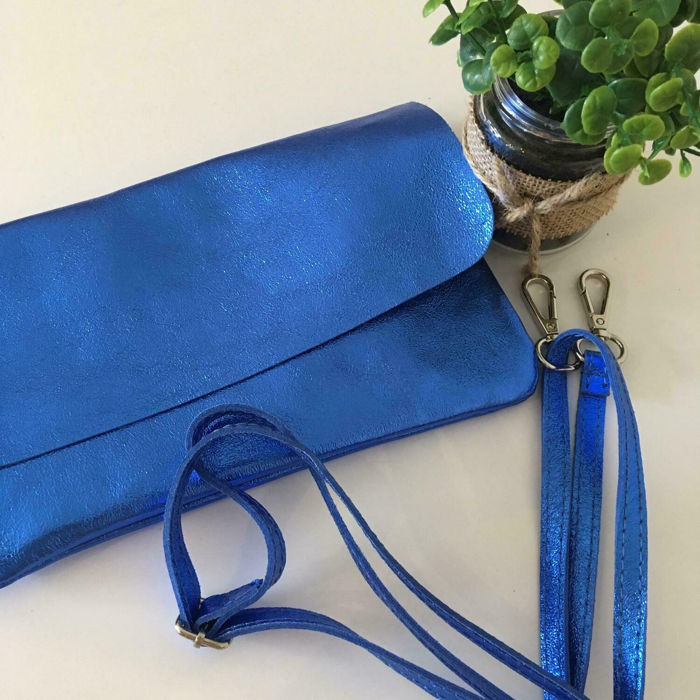 Handtas clutch lederlook - LIVIA - koningsblauw