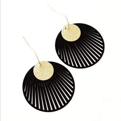 Oorbellen - HIRA - zwart/goud