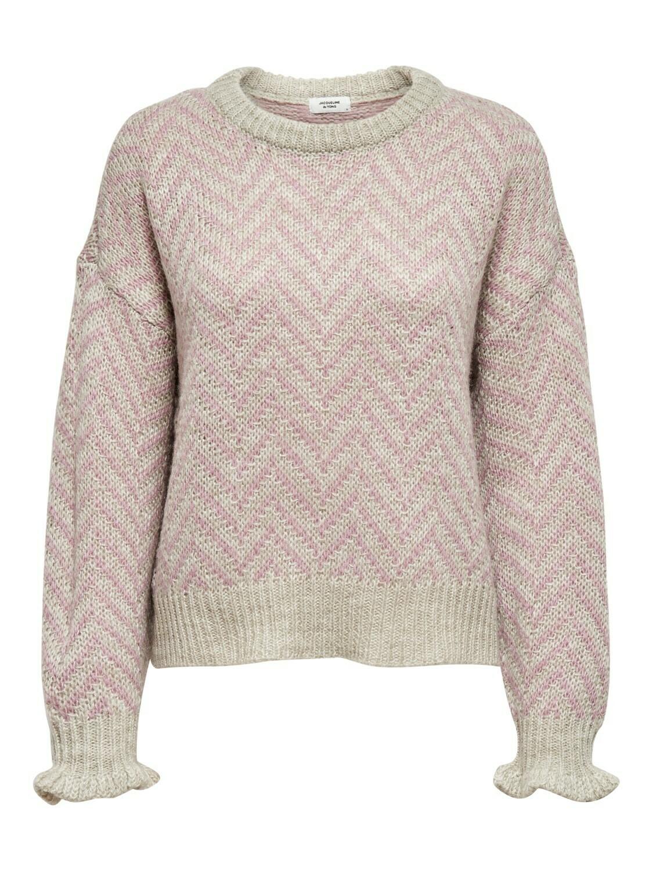 Knitwear - SABINE - lichtgrijs met roze