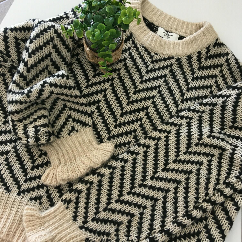Knitwear - SABINE - beige met zwart