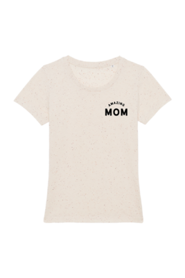 T-shirt dames - AMAZING MOM - écru nappy mandarine