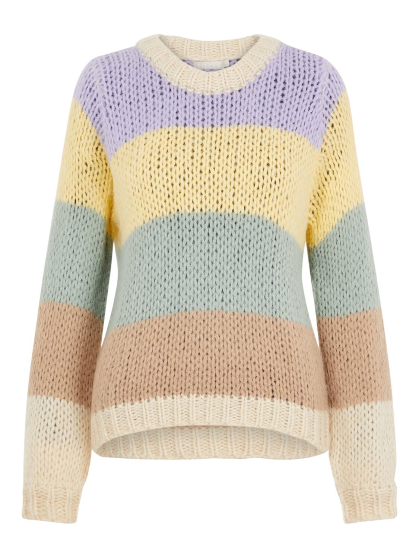 Knitwear trui - SIRI - in aardetinten en paars