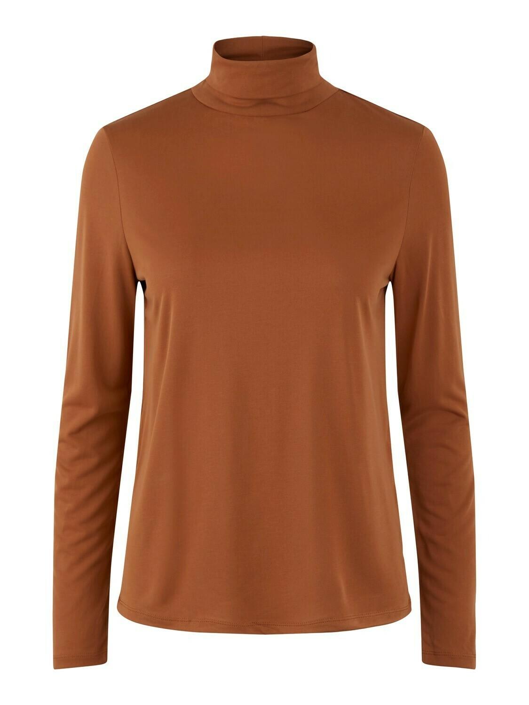 T-shirt met lange mouwen en opstaande kraag - KAMALA - roestkleur