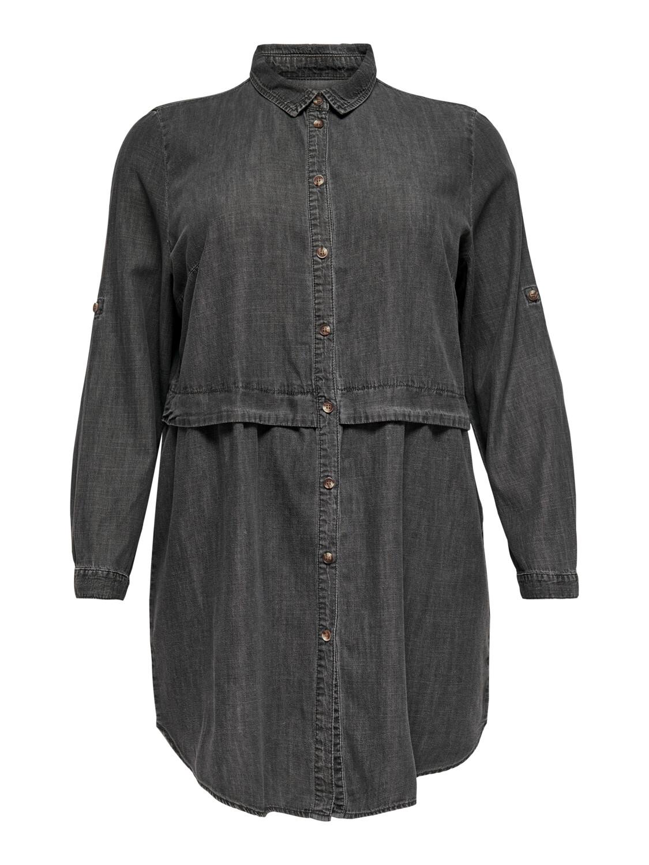 + Midi jurk - CLAIRE - grijze jeanskleur