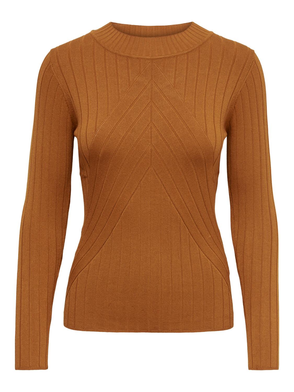 Trui - KATE - aansluitend, met opstaand kraagje en V-knit - bruin