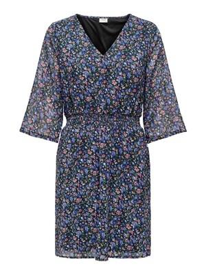 Korte jurk - ANNE - zwart/blauwe en roze bloemetjes