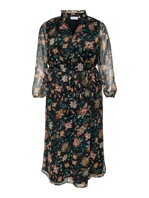 + Maxi jurk - KRITI - zwart/bloemenmotief