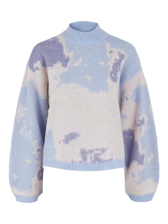 (*) Knitwear trui - SKY - kentucky blue met wolken