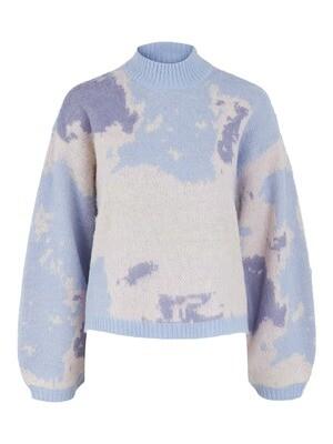 Knitwear trui - SKY - kentucky blue met wolken