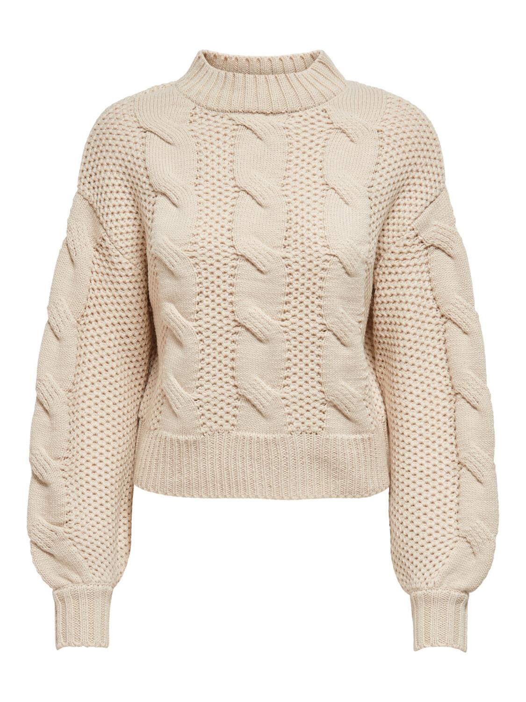 (*) Knitwear trui - JULIA  - grof gebreide kabeltrui - beige