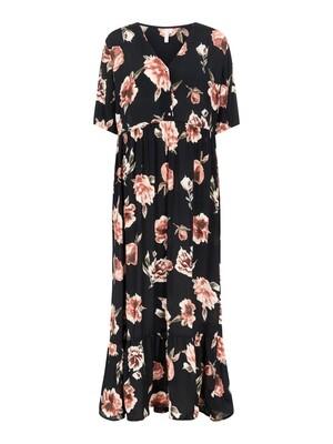 (*) Maxi jurk - RIMMA - zwart met grote bloemen
