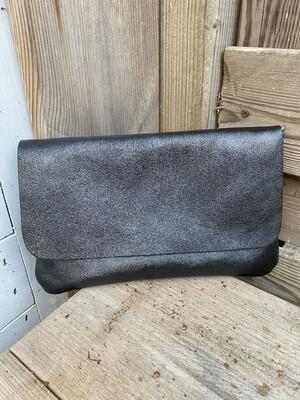 Handtas clutch lederlook - LIVIA - zwart