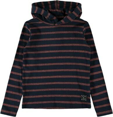 (*) KIDS Trui hoodie - SALAR - donkerblauw/roest