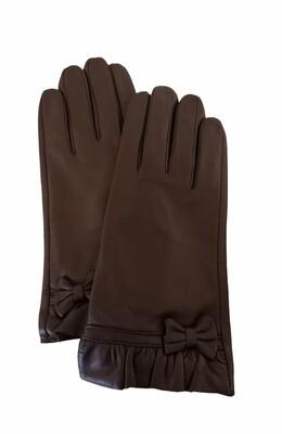Handschoenen - bruin leder met strik - RIXX