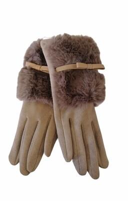 Handschoenen - suède beige met pels en strikje - AMELIA