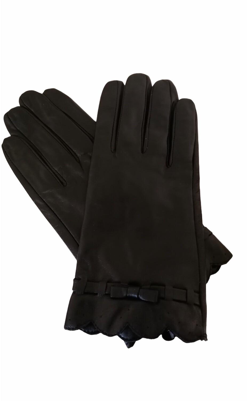 Handschoenen - zwart leder met strik - JOZEFIEN
