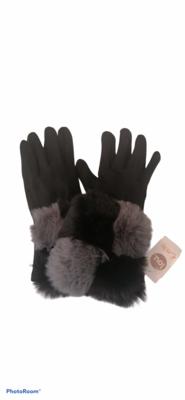Handschoenen - zwart met pels in grijs en zwart - LINE