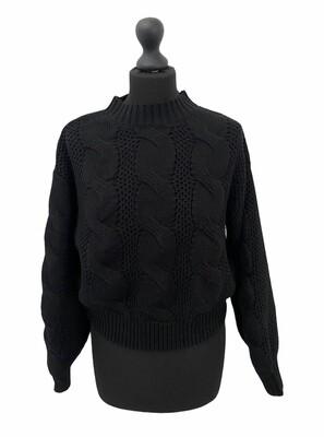 (*) Knitwear trui - JULIA - grof gebreide kabeltrui - zwart