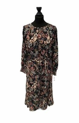 (*) Midi jurk - KAYA - zwart met paarse bloemen