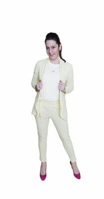 Broek - PAULIEN - pastelgeel