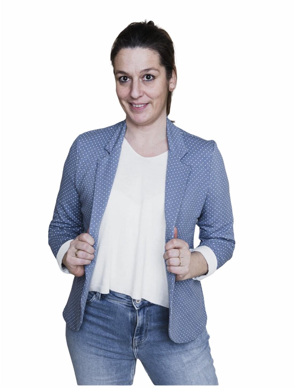 Blazer - MARIE -  blauw met witte stipjes