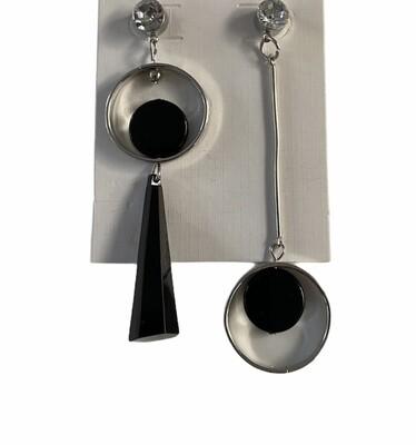 Oorbellen stekertjes - MISTY - zilver/zwart