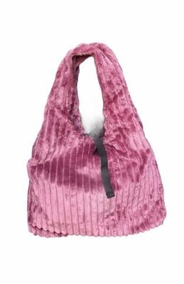 Handtas velours - FLEUR - roze