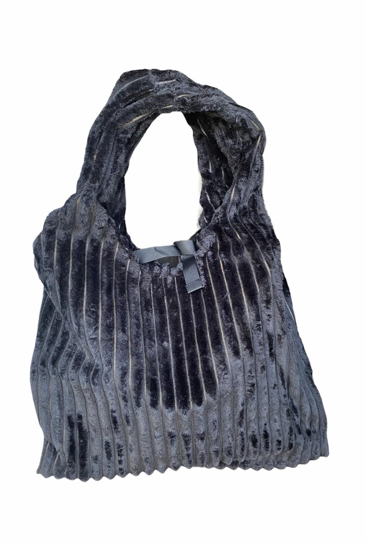 Handtas velours - FLEUR - zwart