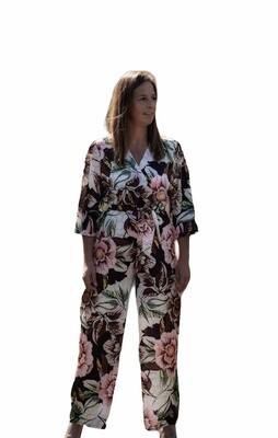 Jumpsuit - LINDE - bloemen bruin/zwart