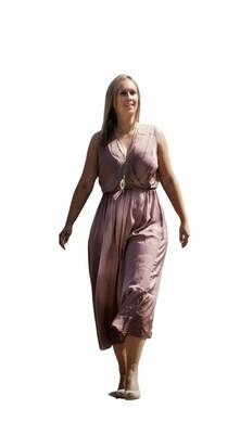 Midi jurk - FIEN - paarsroze satijnlook