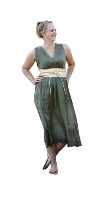 Midi jurk zonder mouwen satijnlook - LIESEL - kaki
