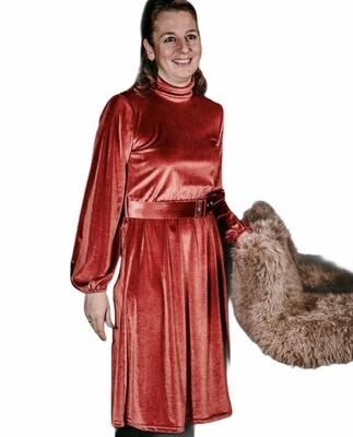 Midi jurk in velours - GABY - cognac