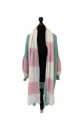 Sjaal - NONA - roze en wit gestreept
