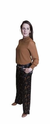 Wijde lange broek - LOLA - zwart met herfstmotief