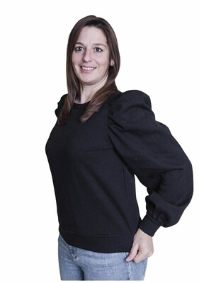 Trui - JASSI - sweater met pofmouwen zwart