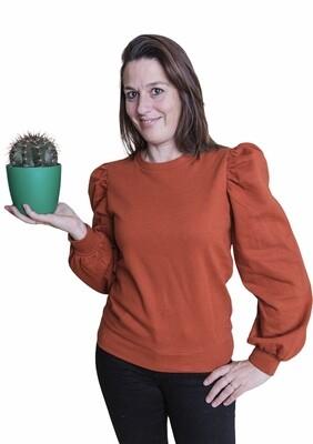 Trui - JASSI - sweater met pofmouwen roestkleur