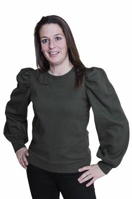 Trui - JASSI - sweater met pofmouwen kaki