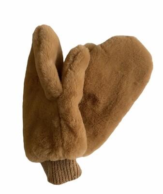 Handschoenen - wanten met faux fur camel - ANNABELLE