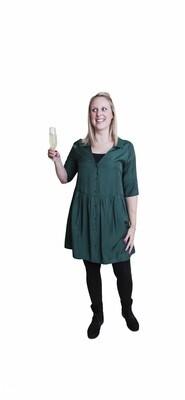 Korte jurk babydoll - LAUREN - bosgroen