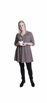 Korte jurk babydoll - ARIANA - pauwmotief