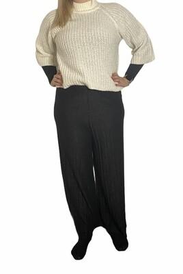 Wijde lange broek - LILI - plissé zwart sparkle