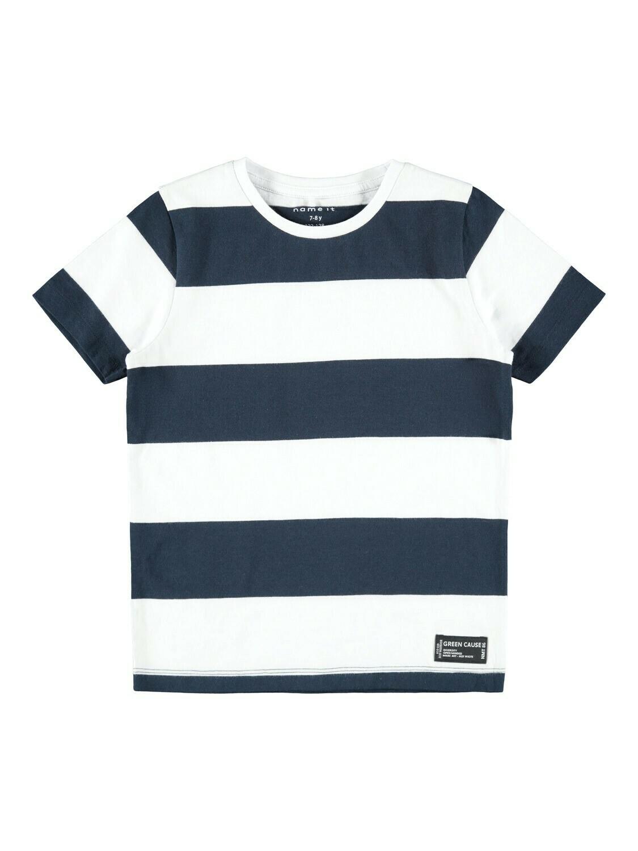 KIDS T-shirt - SAND - wit/donkerblauw