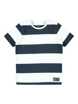 (*) KIDS T-shirt - SAND - wit/donkerblauw
