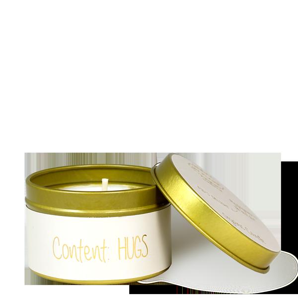 Kaarsje met tekst 'CONTENT: HUGS' - écru/goud - maat S