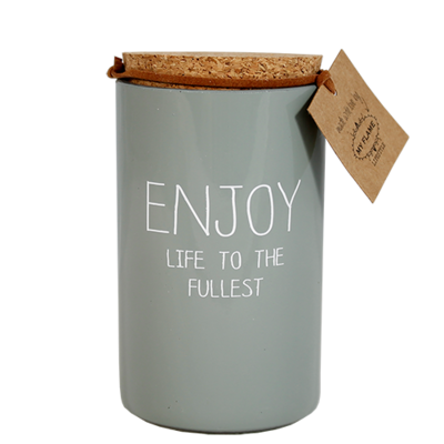 Kaars met tekst 'ENJOY LIFE TO THE FULLEST'