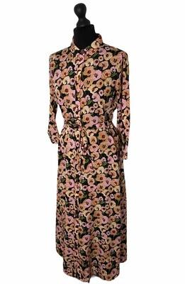 Maxi jurk - ROSIA - bloemenpatroon black /prism pink