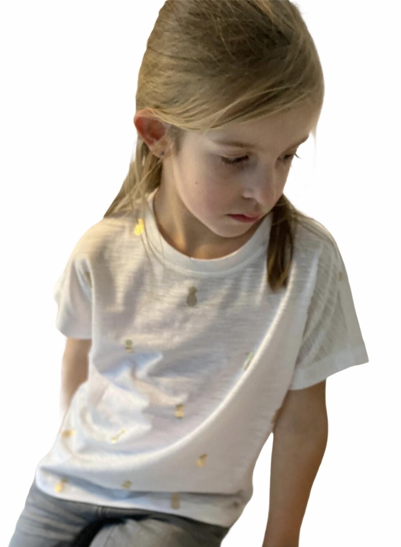 KIDS T-shirt - TYKKI - wit/goud